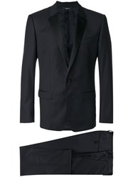Dolce And Gabbana Martini Tuxedo Suit Men Silk Polyester Viscose Virgin Wool 50 Blue