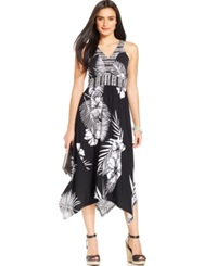 Style And Co. Embellished Asymmetrical Hem Maxi Dress Tropical Palm