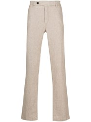 Massimo Alba Linen Chino Trousers Neutrals
