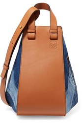Loewe Hammock Medium Denim And Textured Leather Shoulder Bag Tan