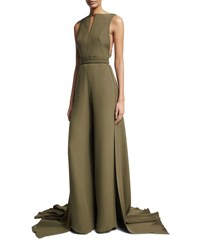 Brandon Maxwell Sleeveless Jumpsuit With Train Olive Black