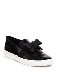 Michael Kors Val Bow Patent Leather Skate Sneakers Black