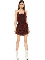 Etoile Isabel Marant Ruffled Printed Silk Crepon Dress