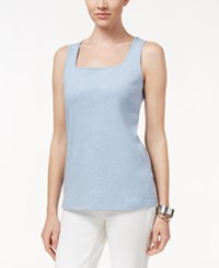 Karen Scott Square Neck Tank Top Only At Macy's Light Blue Heather