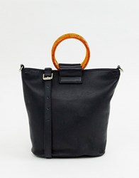 Whistles Henrietta Leather Resin Handle Bag Black