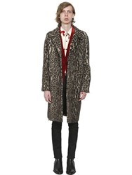 Saint Laurent Leopard Printed Alpaca And Wool Blend Coat