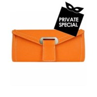 Buti Orange Embossed Leather Envelope Clutch