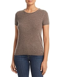 Bloomingdale's C By Short Sleeve Cashmere Sweater 100 Exclusive Heather Rye