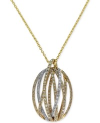 Effy Duo By Diamond Pendant Necklace 5 8 Ct. T.W. In 14K Gold And White Gold Two Tone