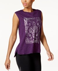 Gaiam Sloan Graphic T Shirt Purple Pennant Truly Tapestry
