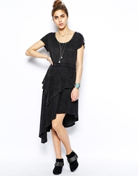 Free People Rocket Cat Dress In Acid Wash With Cut Out Back Black