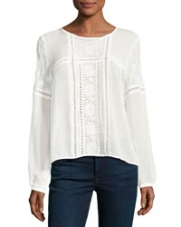 Romeo And Juliet Couture Embroidered Eyelet Long Sleeve Blouse Ivory