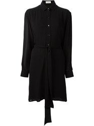 Saint Laurent Long Line Sheer Blouse Black