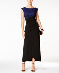 Connected Sequined Lace Draped Gown Black Royal