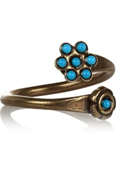 Isabel Marant Nitto Brass And Cabochon Ring Blue