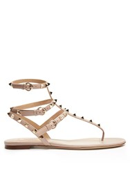 Valentino Rockstud T Bar Leather Flat Sandals Nude