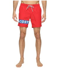Lacoste Logo Swim Medium Length Red White Sapphire Blue Men's Swimwear