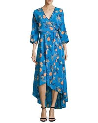 Diane Von Furstenberg Long Sleeve Asymmetric Hem Silk Wrap Dress Blue