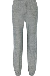 Rag And Bone Pajama Cotton Chambray Tapered Pants Blue