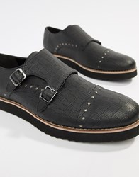Truffle Collection Monk Mock Croc Shoes Black