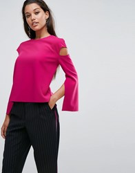 Aq Aq Cut Out Top With Hardware Detail And Self Tie Belt Magenta Pink