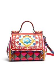 Dolce And Gabbana Sicily Medium Tile Print Textured Leather Top Handle Satchel Maiolica