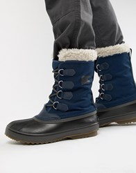 Sorel Pac Nylon Snow Boots In Blue