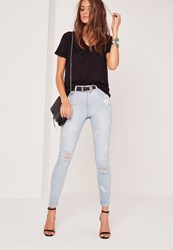 Missguided High Waisted Multi Ripped Skinny Jeans Bleach Blue Blue