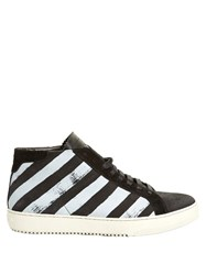 Off White Striped Nubuck Leather High Top Trainers