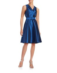 Badgley Mischka Platinum Belted Fit And Flare Dress Blue