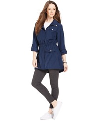 Style And Co. Petite Hooded Anorak Jacket Industrial Blue