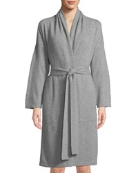 Neiman Marcus Cashmere Patch Pocket Robe Soft Charcoal