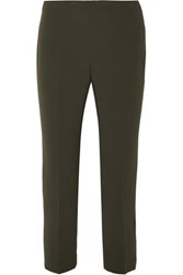 Theory Cropped Crepe Tapered Pants Army Green
