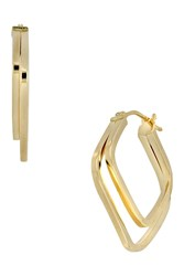 Bony Levy 14K Yellow Gold Double Square Interlocked 25Mm Hoop Earrings