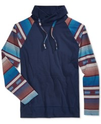 American Rag Men's Southwest Funnel Neck Hooded Sweatshirt Only At Macy's Basic Navy