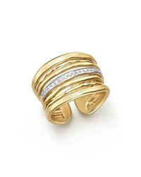 Meira T 14K Yellow Gold Multi Band Open Ring With Diamonds White Gold
