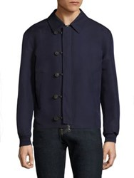 Salvatore Ferragamo Silk Blend Blouson Jacket Navy