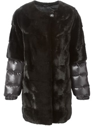Liska Padded Sleeve Fur Coat Black