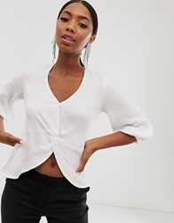 Closet London Knot Front Cropped Blouse In White