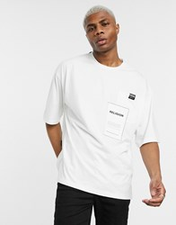 Religion Oversized T Shirt With Graphic Pocket In White