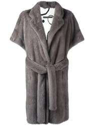 Simonetta Ravizza Shortsleeved Mid Coat Grey
