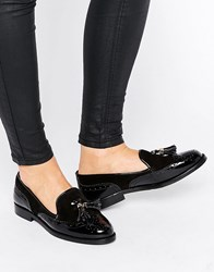 Office Fling Tassle Brogue Leather Loafers Black Leather Suede