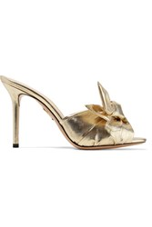 Charlotte Olympia Lola Knotted Lame Mules Gold