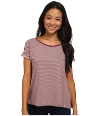 Volcom Lived In Stripe Tee Cognac Women's Short Sleeve Pullover Tan