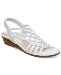 Impo Roma Stretch Slingback Wedge Sandals Women's Shoes White