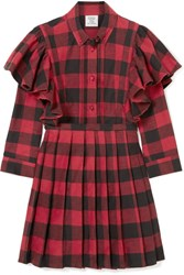 Vetements Ruffled Checked Cotton Flannel Mini Dress Red Gbp