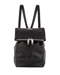Rag And Bone Loner Leather Drawstring Backpack Bag Black