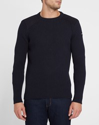 Schott Nyc Navy Patch Sweater Blue