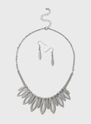 Dorothy Perkins Silver Metal Necklace And Earrings Set