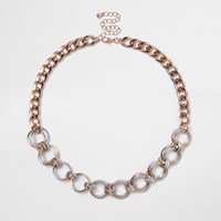 River Island Womens Rose Gold Tone Circle Chain Necklace